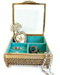 Vintage Gold Plated Filigree Jewelry Box Aqua Velvet