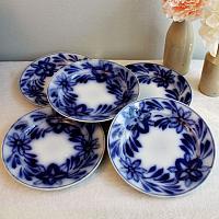 Antique Cobalt Flow Blue Brushstroke Plates Set of 4