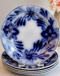 Antique Cobalt Flow Blue Brushstroke Plates Set of 4