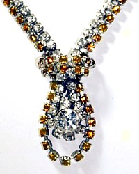 Spectacular Vintage Large Rhinestone Necklace Rare Gold Yellow