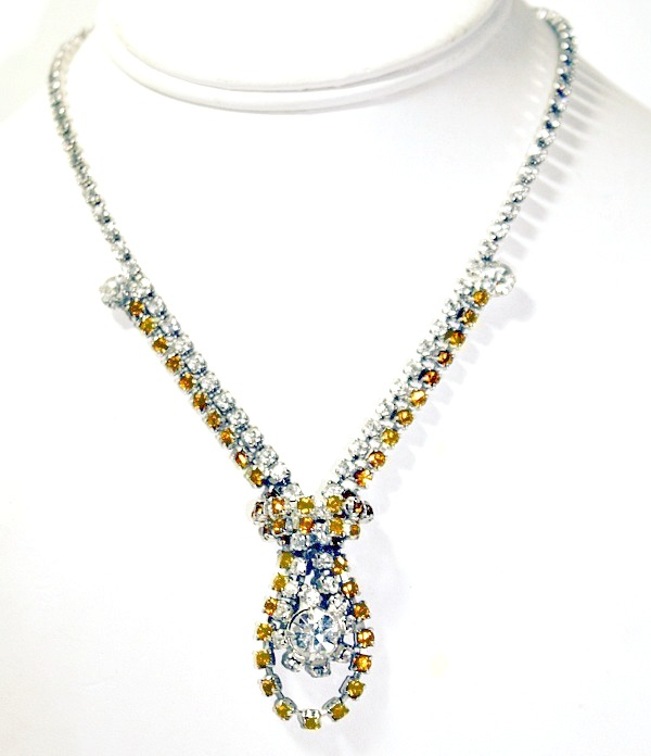 Spectacular Vintage Large Rhinestone Necklace Rare Gold Yellow