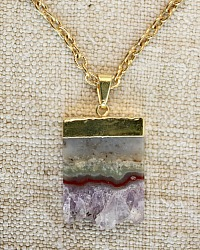 Raw Amethyst Tablet Necklace Livia