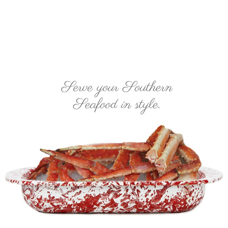 French Country Red and White Porcelain Enamel Baking Pan