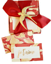 Gold and Red Hand Marbleized Place Cards