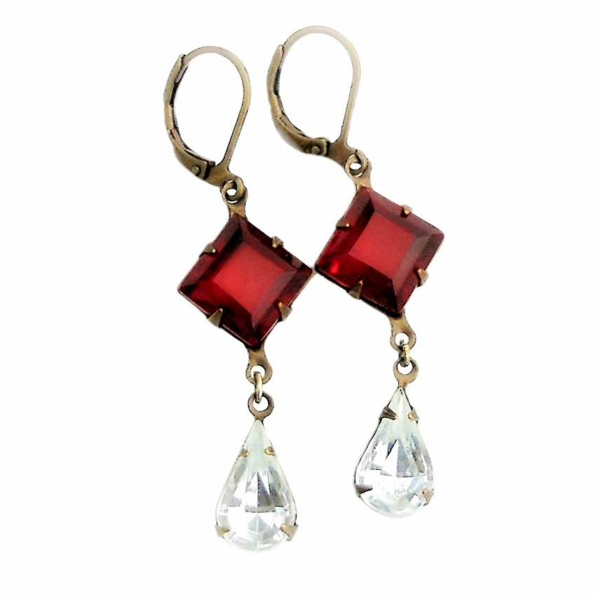 Ruby and Ice Earrings