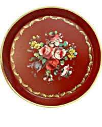 French Country Tole Peinte Signed Tray Round Red Roses