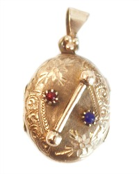 Antique Red & Blue Crossbar Locket