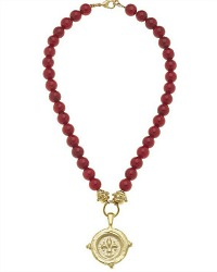 Stone Red and Gold Intaglio Fleur de Lis Necklace