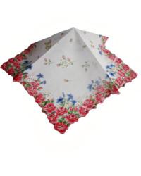 Vintage Fine Voile Roses Handkerchief