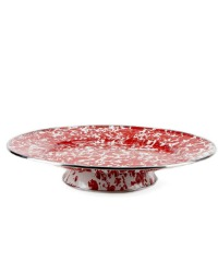 French Country Red Porcelain Enameled Cake Pedestal Server