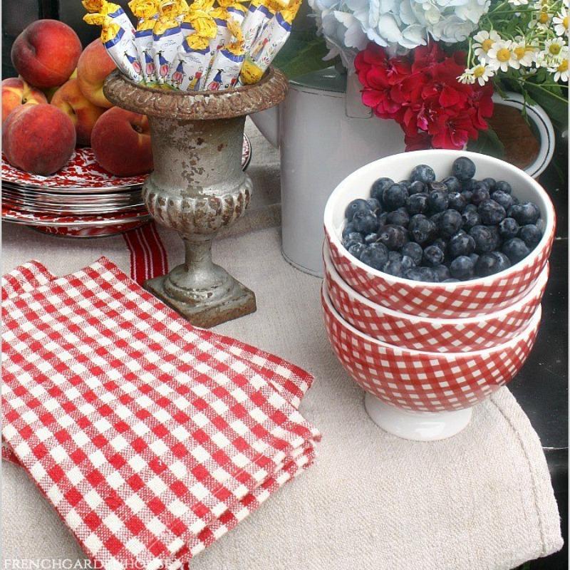 French Red & White Linen Napkins Bardot Check Set of 4