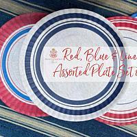 Red, Blue & Linen Melamine Plates Set 4