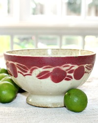 Antique French Shabby Cafe au Lait Bowl Red Cherries