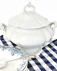 Large White Ornate Ironstone Soup Serving Tureen