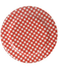 French Country Check Salad - Dessert Plate Set of 4 RED