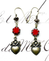 Georgia Hecht Red Fleur L'Amour Heart Charm Earrings
