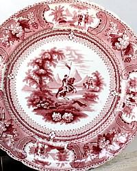 19th Century Red Staffordshire Transferware Plate