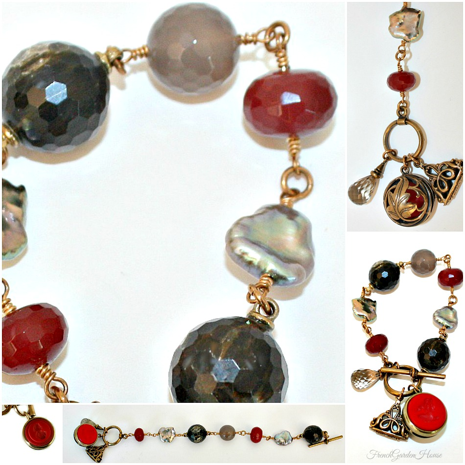 Extasia Moonstone Pearl and Red Intaglio Watch Fob Bracelet