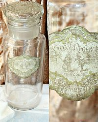 Antique French Glass Apothecary Jar Savon Regence