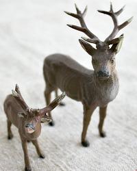 Vintage Estate Metal Putz Reindeer Stag and Little Reindeer Set of 2