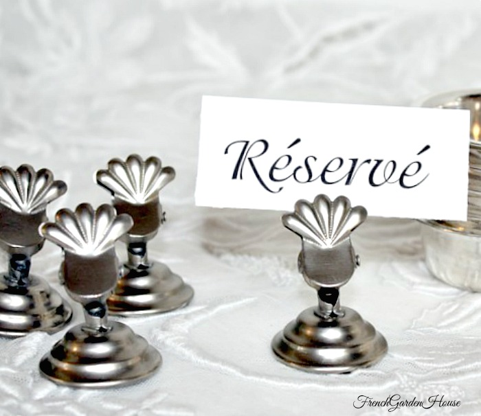 Pewter Place Name Table Card Holder Set of 4