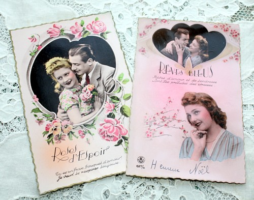 Set of 2 Vintage 1940's French Romantic Postcards Reves