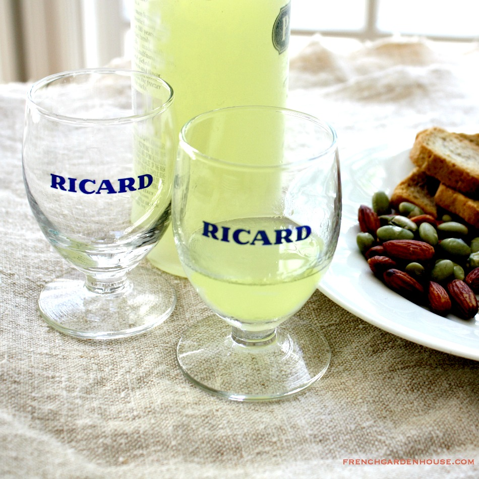 Set of 2 Vintage French Ricard Pastis Liquer Footed Glasses