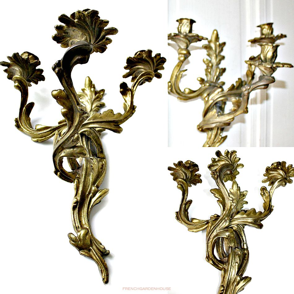 Antique French Louis Xv Style Wall Candle Sconces