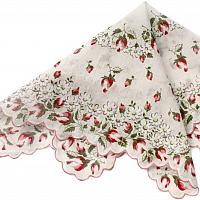 Vintage White and Red Roses Handkerchief