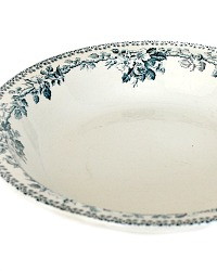 Antique 19th Century French Blue Transferware Wild Rose Bowl