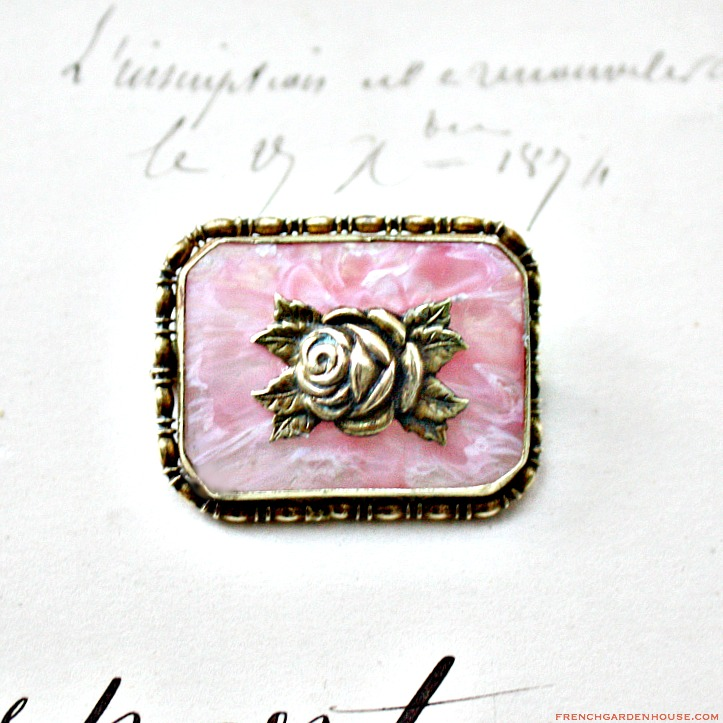 Pink Rose Gold Lace Veil Brooch