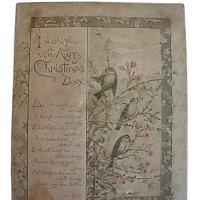 Antique Victorian Christmas Card Birds and Pink Roses