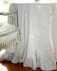 Elegant Natural European Organic Linen Round Tablecloth