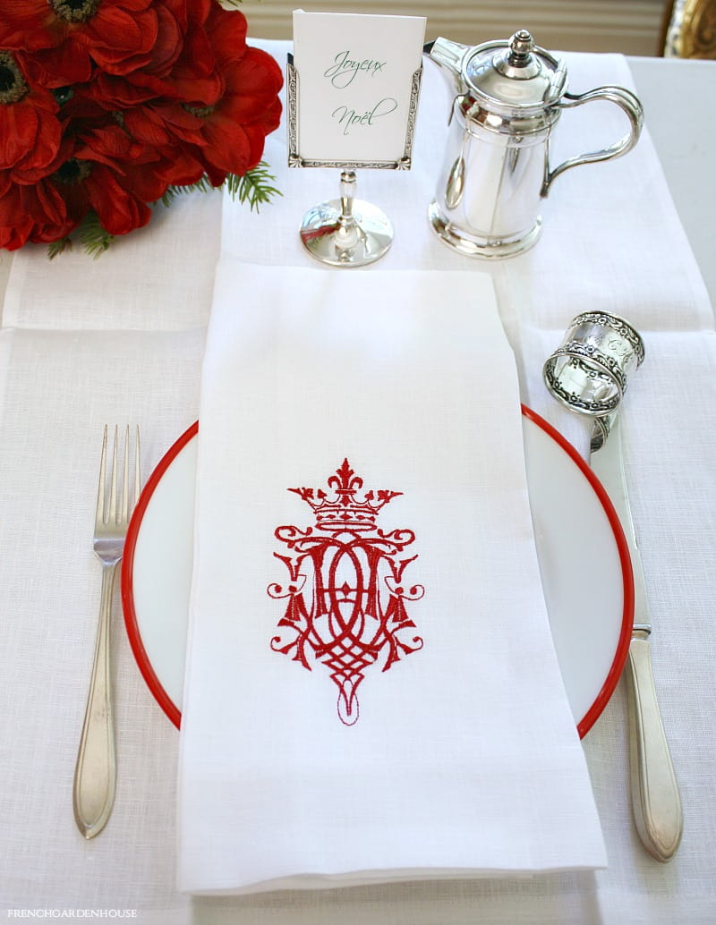 European Luxury Linen Royal Crest Embroidered White Towel