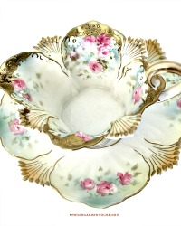 Antique Hand Panted RS Prussia Roses Berry Sauce Boat and Underplate