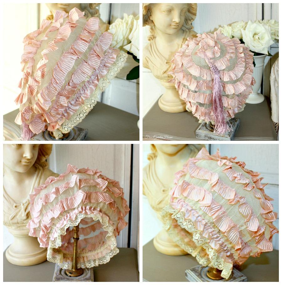 Antique French Lavender Silk Ribbon & Lace Boudoir Cap