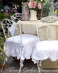 Organic Linen Chair Seat Cover Ruffled LAST FEW!