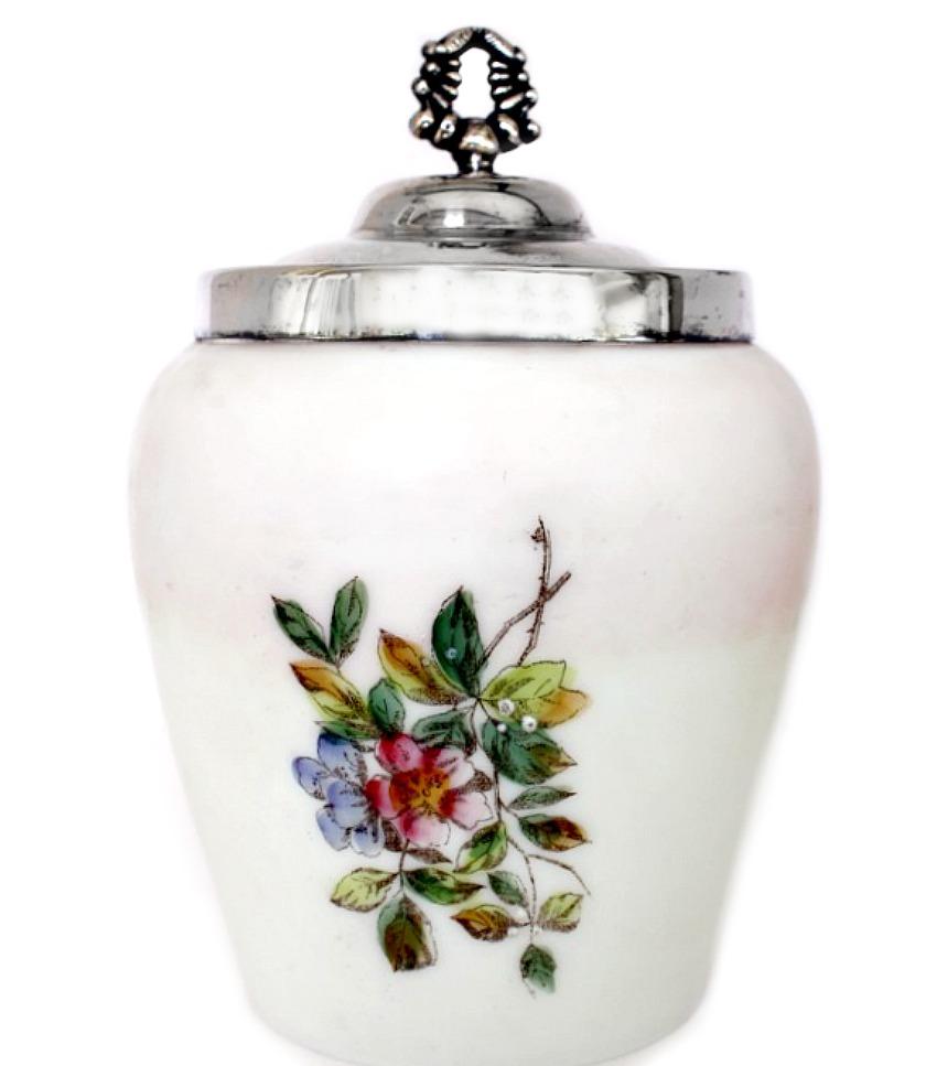 Antique Wavecrest Satin Glass Hand Painted Floral Biscuit Barrel