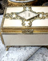 Gilt Satin Glass Gold Plated Jewelry Casket Box