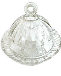 Antique Estate EAPG Victorian Cobb Zipper Glass Butter Dish
