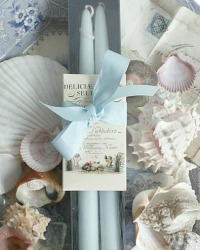 Hand Dipped Sea Mist Taper Candles Gift Set