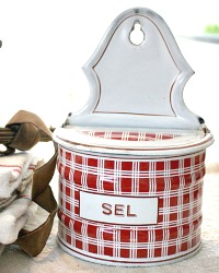 Antique French Enamelware Red & White Check SEL Salt Box