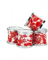 Red and White Porcelain Enameled Napkin Rings Set of 4