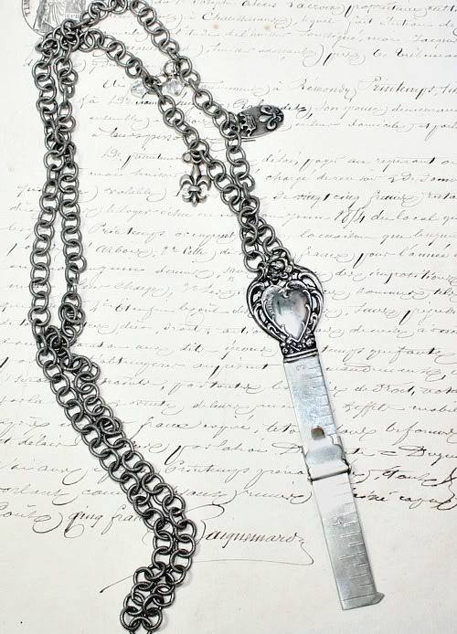 Antique Sterling Chatelaine Hem Gauge Necklace