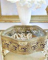 Vintage 24 kt. Gold Filigree Jewelry Casket