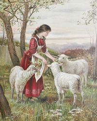 Chromolithograph Print of Victorian Girl with Sheep