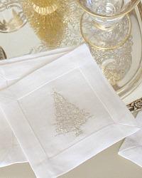 European Linen Cocktail Napkin Set of 4 Silver Trees