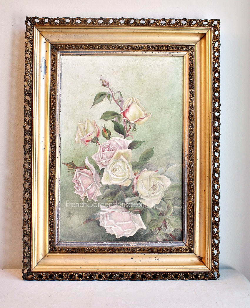 Antique Signed Original Oil Painting Pink White Roses Gilt Frame