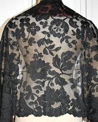 Antique 19th Century Needlelace Silk Black Floral Lace Shawl