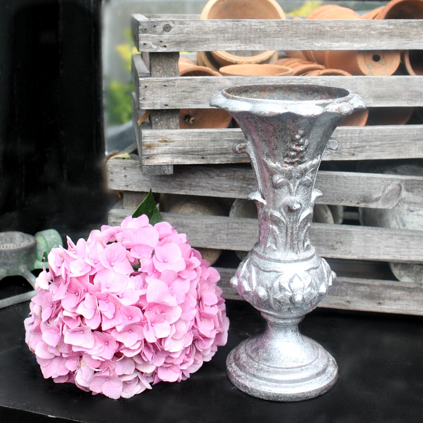19th Century Antique French Cast Iron Floral Vase Medium